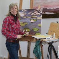 Katie Painting Red Plaid Shirt - Katherine Churchill